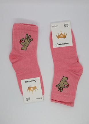 """Женские розовые модные носки с принтом рисунком """"ок"""" в рубчик,..."""