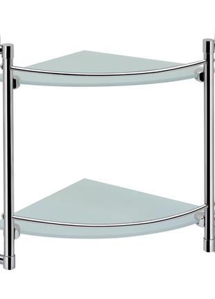 2-х ярусная полочка для ванной комнаты стеклянная Lidz угловая