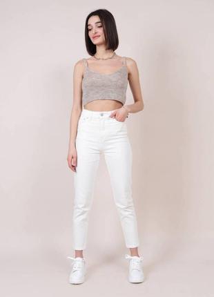 Качественые молочные котоновые прямые джинсы момы mom высокая...