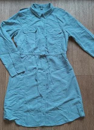 Платье-рубашка серое