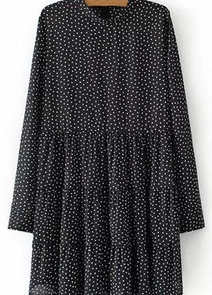Черное платье-туника gamiss в мелкие квадратики, размер s