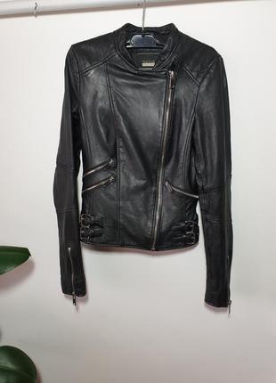 Кожаная куртка косуха zara trafaluc натуральная кожа