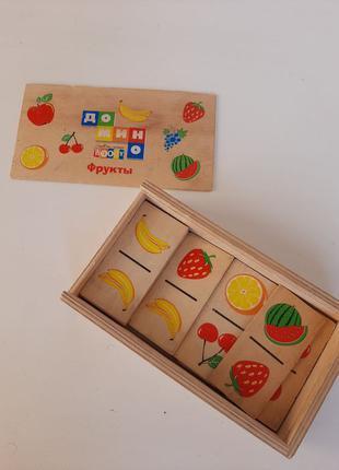 Детское Домино деревянное фрукты  пазлы