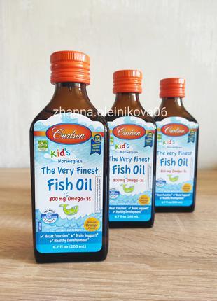 Carlson Labs, для детей рыбий жир,  апельсиновый вкус, 800 мг,