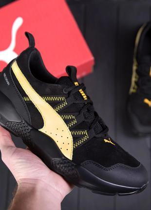 Мужские кожаные кроссовки  Puma Runner Black