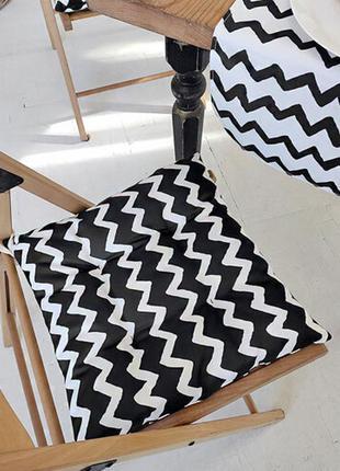 Подушка на стул с завязками зигзаг черно-белый 40x40 см (pz_21...