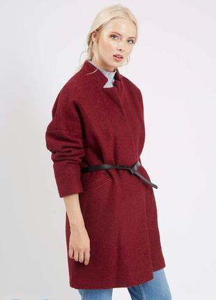 Пальто шерсть с поясом букле оверсайз кокон