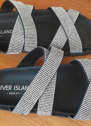 Модные шлепки river island черные со стразами 36 -36