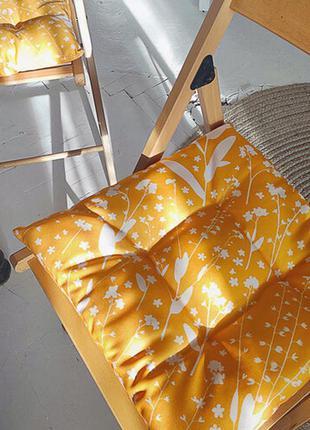 Подушка на стул с завязками белые цветочки 40х40 см (pz_21a016)