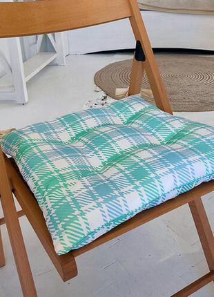 Подушка на стул с завязками бело-бирюзовые квадраты 40х40 см (...