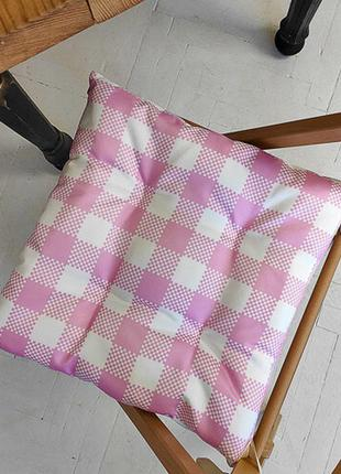 Подушка на стул с завязками бело-розовые квадраты 40х40 см (pz...