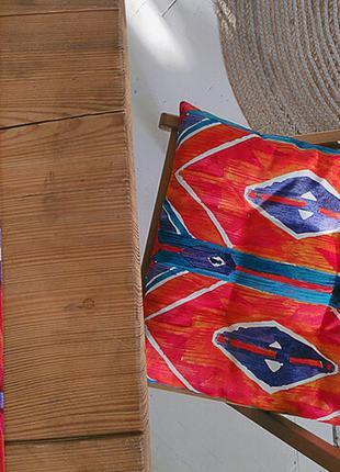 Подушка на стул с завязками этно стиль 40х40 см (pz_21a021)
