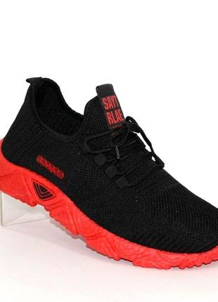 Мужские чёрные кроссовки на красной подошве u301-10