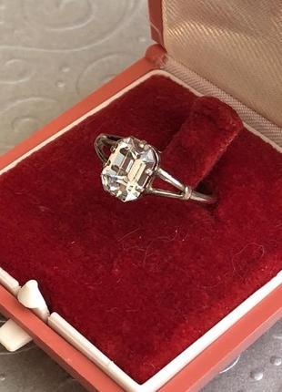 Кольцо винтажное серебро ссср 875 звезда, горный хрусталь, р.16,5