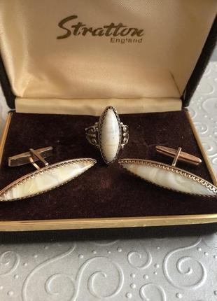 Набор винтажный серьги запонки серебро 875 звезда ссср природн...
