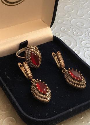 Комплект кольцо и серьги, серебро 925, бронза
