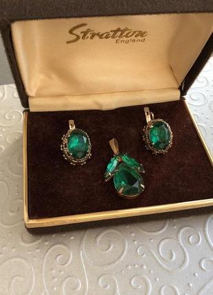 Серьги подвес набор ссср , серебро 875 звезда, зеленый корунд