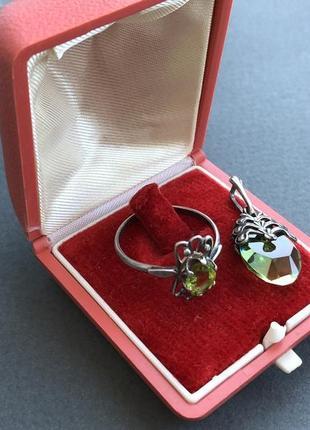 Кольцо серебро 916 пробы, звезда, хризолит ссср, 19.5 размер и...