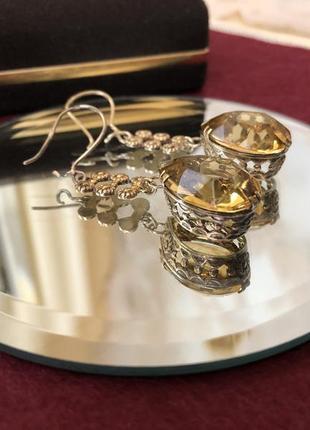 Серьги винтажные ссср серебро 875 проба,звезда, цитрин