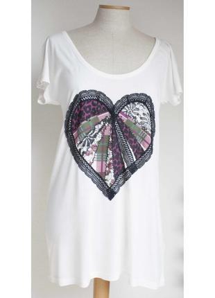 Новая футболка с сердцем и кружевом 52-54 размера