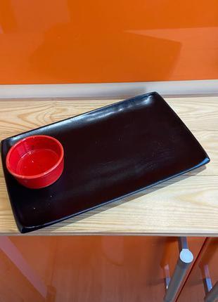 Тарелка для суши блюдо керамика ручной работы прямоугольная