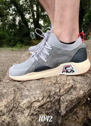 Мужские кроссовки fila gray с сеткой, летние, фабричные