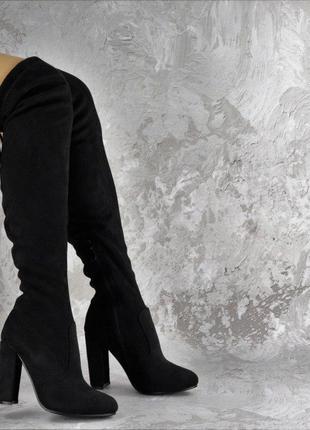 Женские чёрные замшевые ботфорты на каблуке