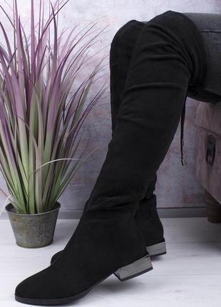 Женские зимние ботфорты на низком каблуке