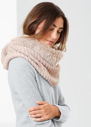 Снуд, шарф капор вязаный с мехом