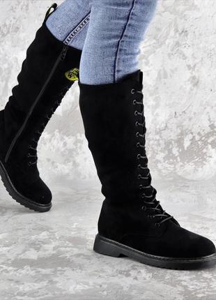 Женские зимние сапоги на шнуровке