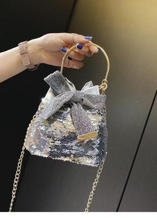 Мини сумочка паетки пайетки без цепочки