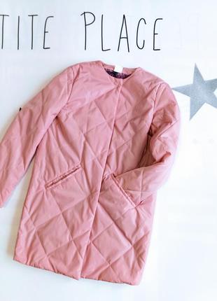 Пальто на девочку цвет розовая пудра оверсайз