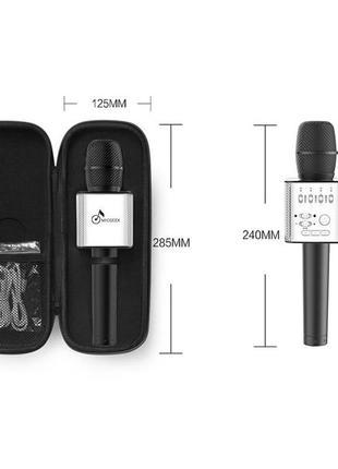 Микрофон Q9 портативный караоке с динамиком с чехлом, черный