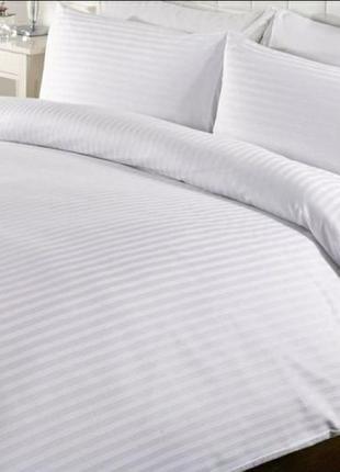 Комплект постельного белья satin stripe белый (двуспальный)