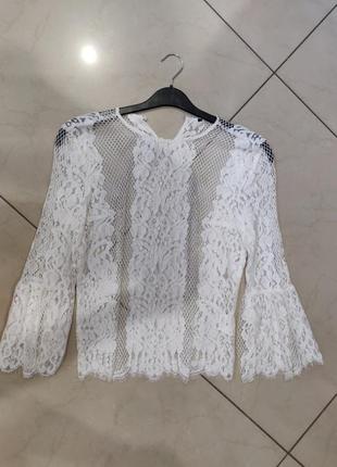 Ликвидация товара 🔥красивая нежная блуза из белого кружева