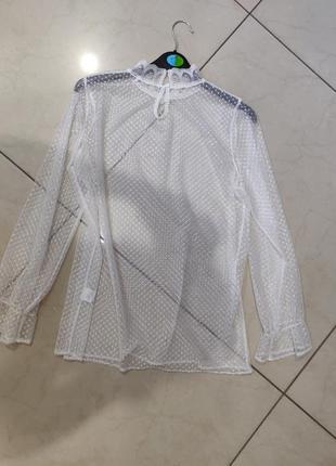 Ликвидация товара 🔥  блуза водолазка из белой сетки в горошек ...