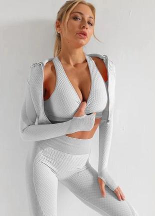 Спортивный женский костюм для фитнеса. фитнес костюм тройка - ...