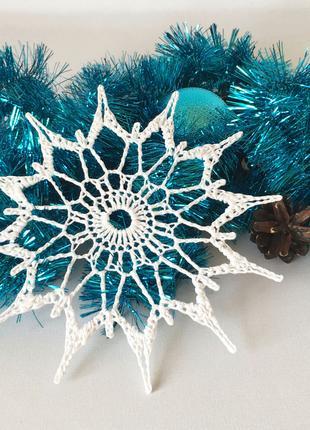 Большая белая новогодняя вязаная снежинка, новогодний декор