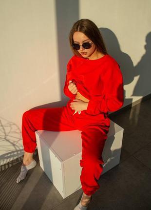Красный женский костюм тайдай петля/ оверсайз свитшот+джоггеры