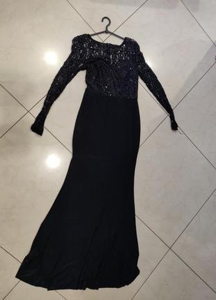 Ликвидация товара 🔥  чёрное платье с кружевным верхом в паетки