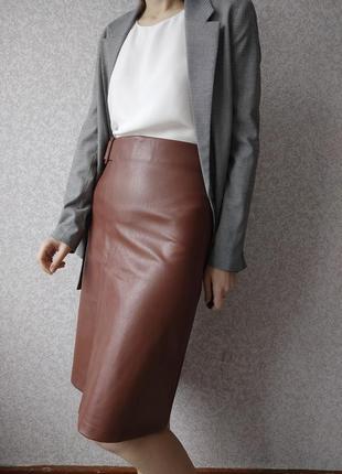 Кожаная юбка миди юбка трапеция с поясом на высокой талии нова...