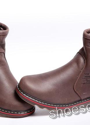Сапоги угги мужские кожаные winter classic коричневые