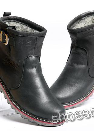 Сапоги угги мужские кожаные winter classic черные