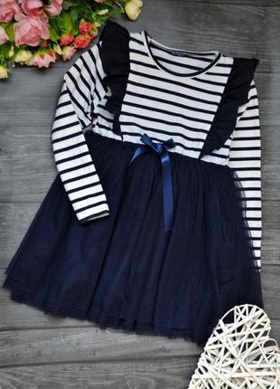 Классное платье с фатиновой юбкой морячка замер!