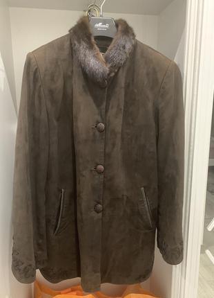 Куртка пальто замшевая с мехом норки