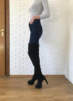 Сапоги ботфорды чулок черные высокие на каблуке под замш 26 см