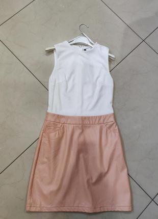 👑♥️final sale 2019 ♥️👑  трикотажное мини платье с юбкой из кож...
