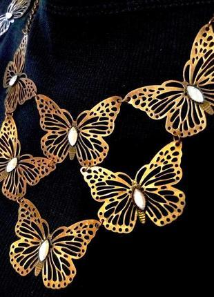 Ажурные бабочки колье серьги под состаренное золото винтажный ...