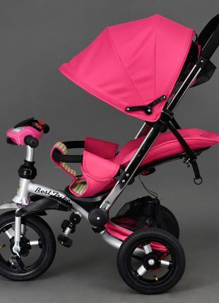Триколісний велосипед коляска 698 рожевий,надувні колеса,фара,тел