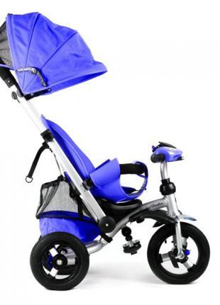 Триколісний велосипед коляска 698 синій,надувні колеса,фара,телес